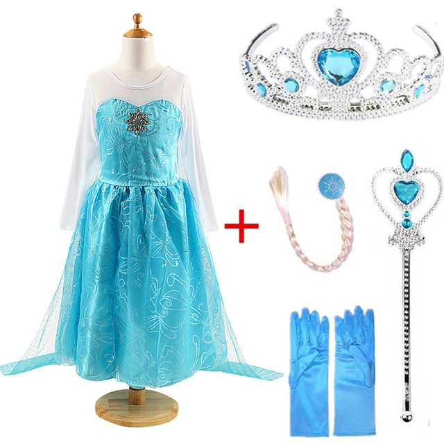 Queen Elsa Dresses Elsa Elza Costumes Princess Anna Dress for Girls Party Vestidos Fantasia Kids Girls Clothing Elsa Set