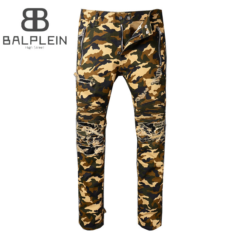 Balplein Brand Mens Jeans Camouflage Army Cargo Pants Motor Ripped Jeans High Street Youth Slim Fit Destroyed Biker Jeans Men disney игрушка