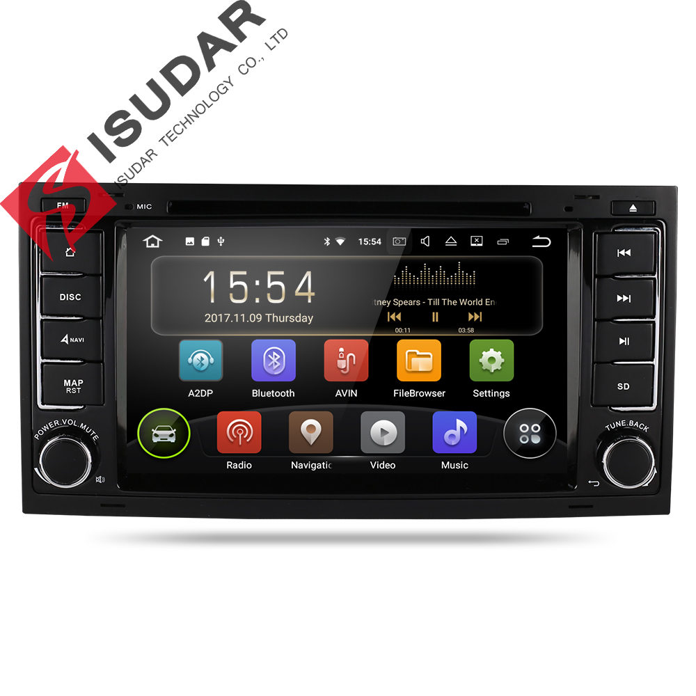 Isudar Voiture lecteur Multimédia Android 8.1 GPS 7 pouce 2 Din Autoradio Pour VW/Volkswagen/Touareg Canbus Wifi FM Radio USB DVR