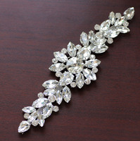 18 2 5 5cm White Crystal Silver Base Flower Rhinestone Applique Belt For Wedding Evening Dress
