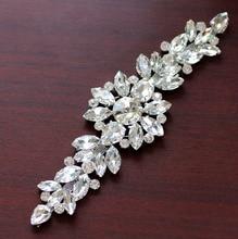 18,2*5,5 cm Weiß kristall Silber Basis Blume strass applique Gürtel Für hochzeit abendkleid Dekoration nähen auf Rhinestone