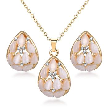 Classy Sparking Crystal Wedding Jewelry Set Jewelry Jewelry Sets Women Jewelry Metal Color: F1130