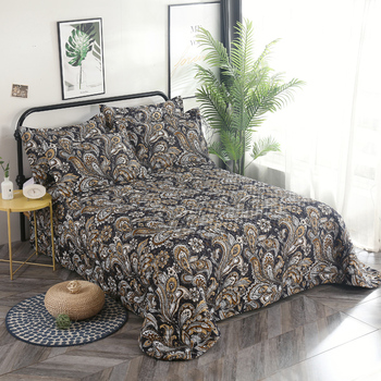 FAMVOTAR 3 Piece Earthy Floral Paisley Themed Quilted Bedspread Coverlet Set Wild Flower Leafs Vines Printing Cotton Bedspread