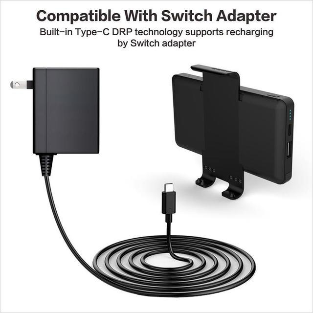 TWISTER. CK Nintendo Switch Portable amovible 10000mAh chargeur de chargeur portatif batterie arrière externe bloc dalimentation noir