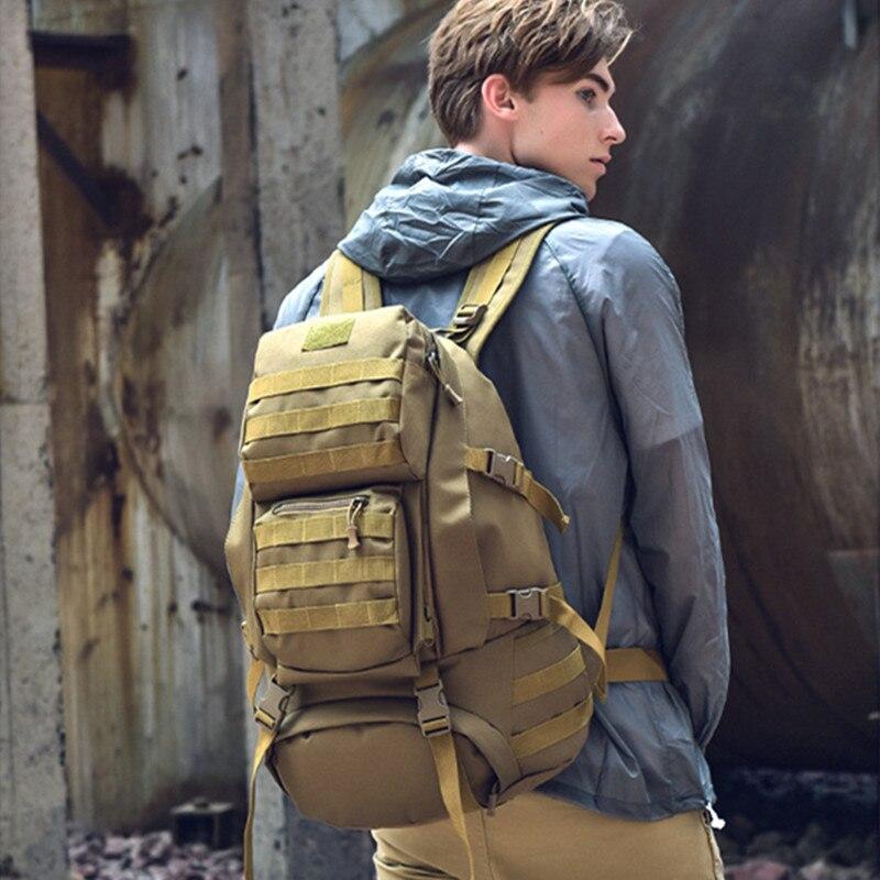 2019 Mountaineering Bag 55L 방수 여행 군사 군대 가방 mochila militar Camo Rucksack 배낭 여행용 트레킹