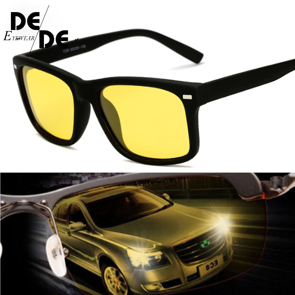 2019 High Quality Yellow Night Vision For Night Driving Polarized Sunglasses Square Mens Driver Safety Eyewears Cloudy Fog Day