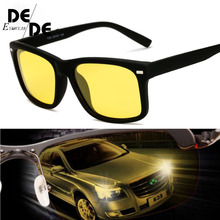2019 High Quality Yellow Night Vision For Driving Polarized Sunglasses Square Mens Driver Safety Eyewears Cloudy Fog Day