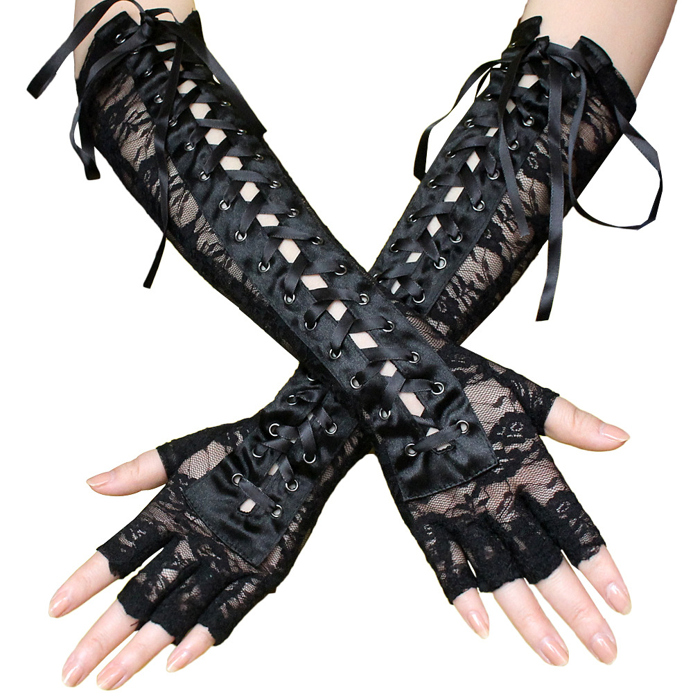 Women Bandage Long Gloves Sexy Black Lace Long Fingerless Gloves Cross Bandage  Opera Lolita Gloves Handwear Dress Accessories