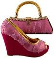 Moda Italiana Zapatos Con Bolso A Juego Para El Partido de Alta calidad Talón Mujeres Africanas Zapatos Y Bolso A Juego Set 1308-L20