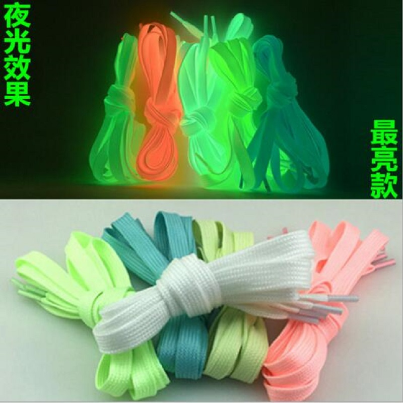 1 Pair 1.2m Luminous Shoelace Flat Coloured Shoe Laces Glow in The Dark Fluorescent Athletic Shoes Party Camping Shoelace graffiti party diy glow in the dark luminous pigment lemon yellow
