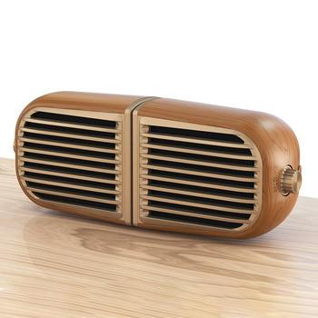 TWS Bluetooth Speaker with Magnetic wood grain retro magnetic stitching full frequency TF card bass speaker