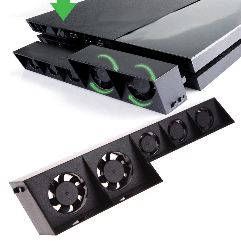VODOOL USB Jeu Console Hôte Turbo Ventilateur De Refroidissement Externe 5 refroidisseur Fans Dissipateur de Chaleur Température Contrôle Pour Sony PlayStation 4 PS4