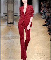 Amazing Red Autumn Business Set Thick Corduroy Pant Suits Lady Office Work Two Piece Sets Fashion Show Brief Women Suits SO6777