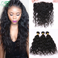 Grade 7A 13*4 Ear To Ear Lace Frontal Closure With Bundles Peruvian Water Wave Virgin Human Hair With Lace Frontal Closure