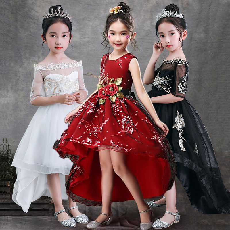 Girls   Sleeveless Princess Children Handmade   Flowers     Girl     Dress   For Wedding 3-14 Years   Girls   Trailing Party Prom   Dresses