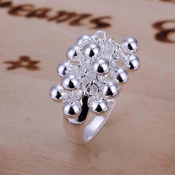 Hot lady fashion exquisite silver grape beads rings silver color classic women lady models silver jewelry best gift R016