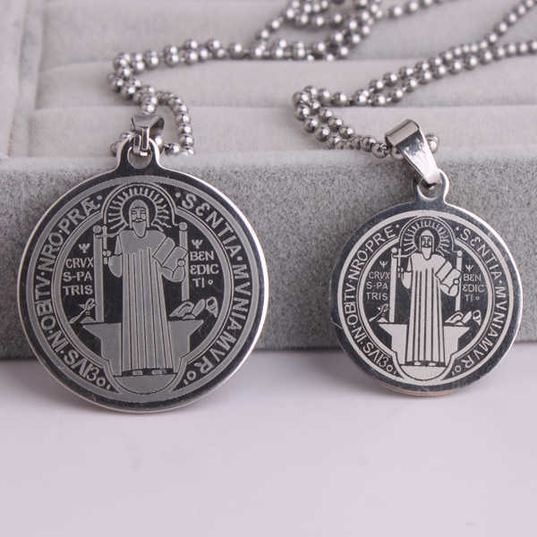 Silver color Saint Benedict of Nursia 316L Stainless Steel pendant necklaces bead chain for men women wholesale