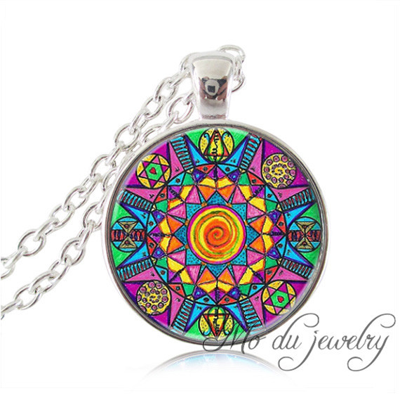 Colorful Mandala necklace pendant Meditation jewelry Buddhism Om necklace yoga jewerly silver chain cabochon statement necklace
