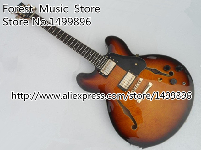Cheap Top Quality Musical Instrument Vintage Sunburst Hollow Guitar Body ES 335 China Jazz Guitar Lefty Available