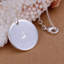 Round Dog Tag Necklace Pendant 925 stamped silver plated TIF Charm Classic Jewelry For Women Men Love