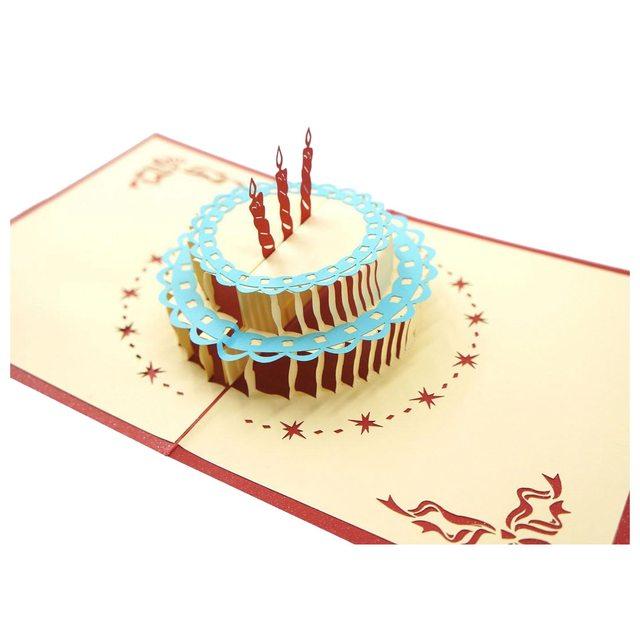 2pcs Premium Papercraft 3d Pop Up Birthday Greeting Cards