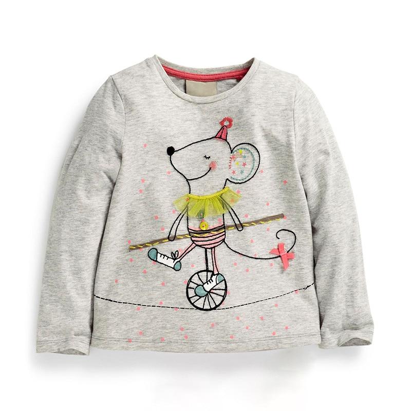 2-7 Jahre Frühling Herbst Baby Mädchen T-shirt Langarm Baumwolle Cartoon Wenig Ratten Druck Tops Kleinkind Mädchen Kinder T Shirts