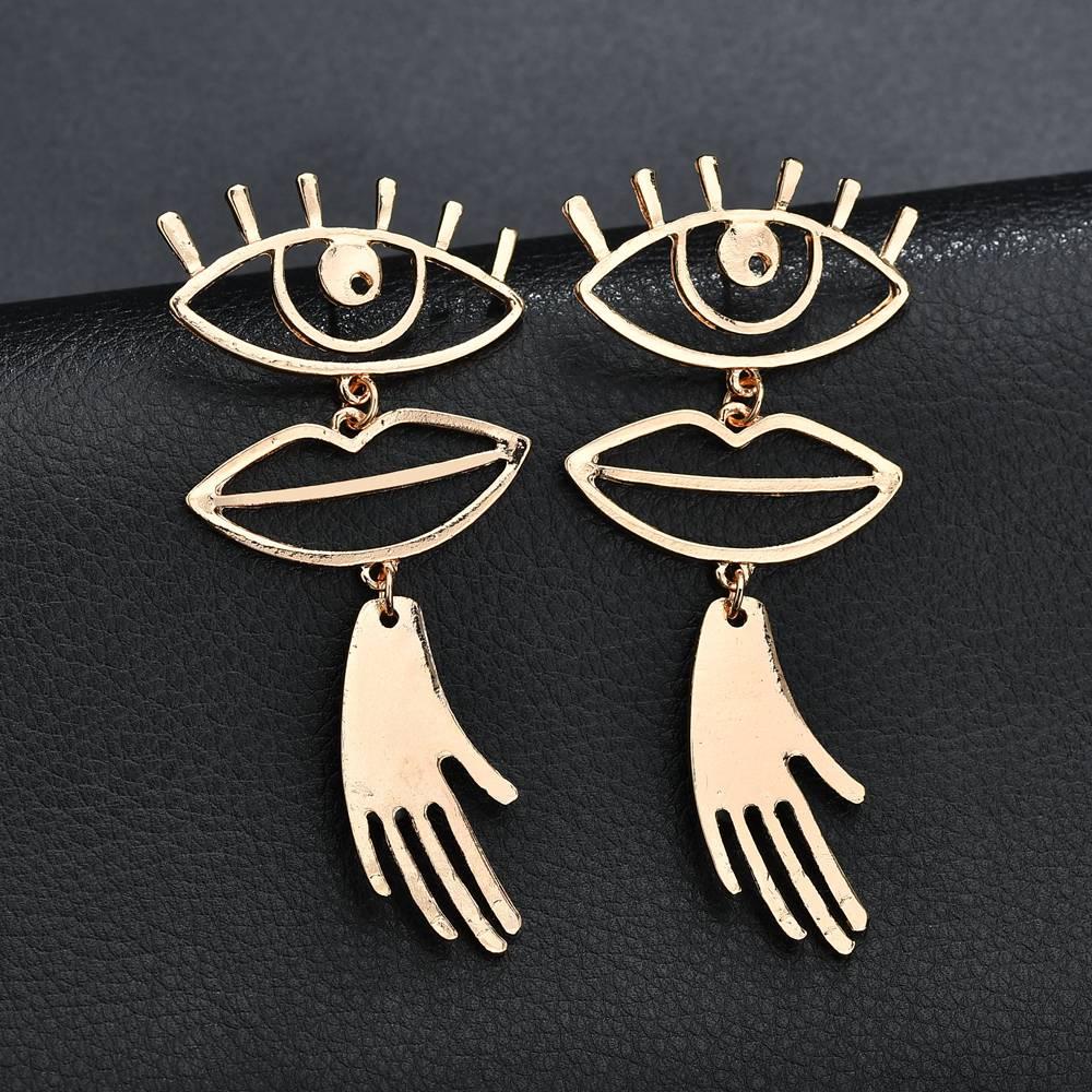 Detail Feedback Questions about Terreau Kathy Gold Color Chic Palm  Statement Stup Earrings Hyperbole Big Eyes Tassel Earring For Women Bijoux  2018 ZA ... 100f9f1cd529