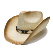 Estilo Punk das Mulheres dos homens Unisex chapéu de Palha do Verão Chapéu  Fedora Aba Larga Praia Cowboy Cowgirl Ocidental Liga . 02e4da54226
