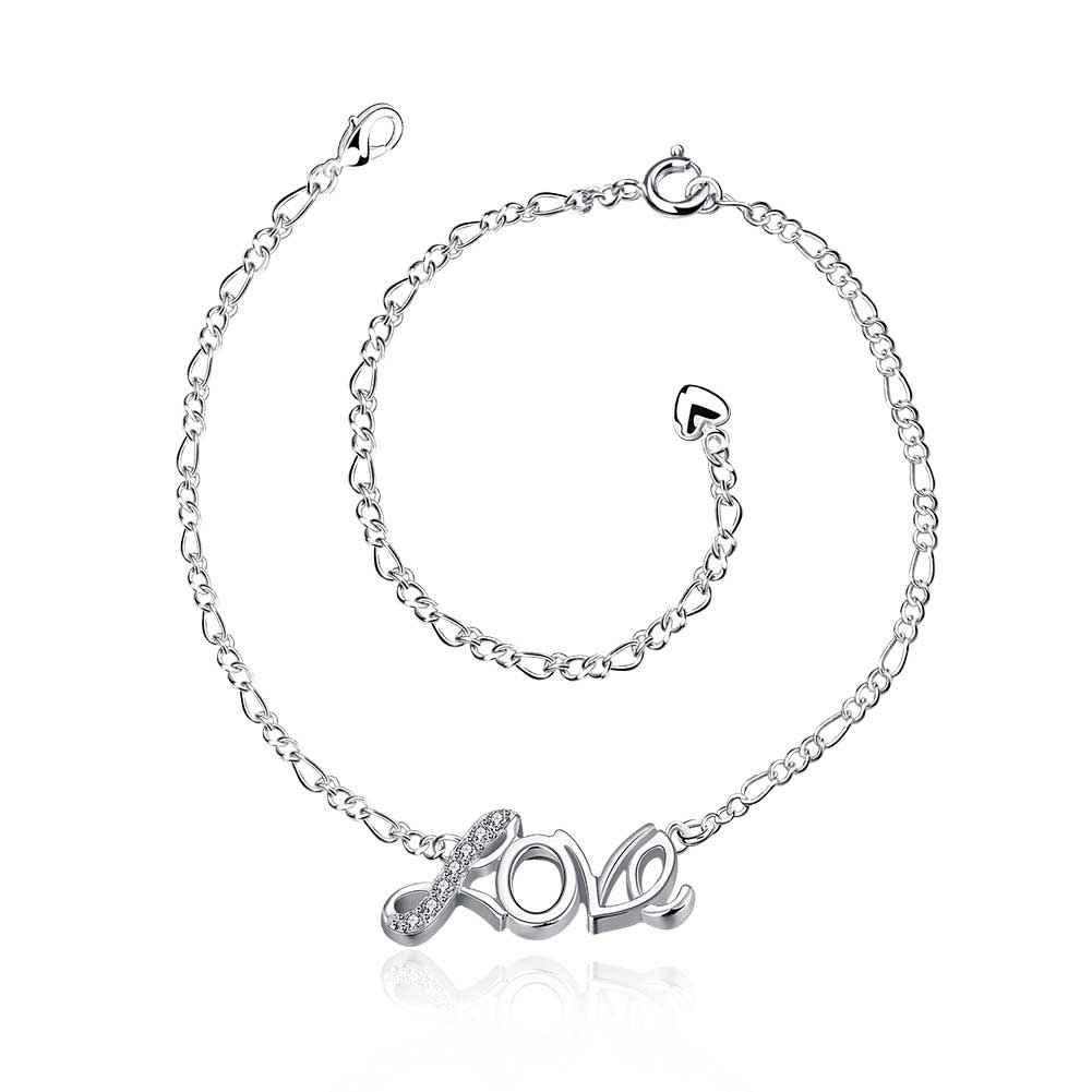 Free Shipping Hot Selling silver anklet Love bracelet on a leg bijoux femme HBA009