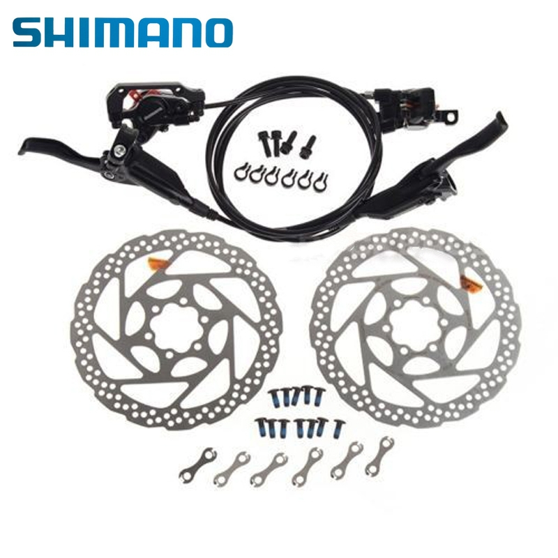 SHIMANO Hydraulic Brake Sets Front Rear BR-M446 BL-M445 White RT56 160mm Rotor 2 Colors shimano br bl deore m6000 hydraulic disc brake lever