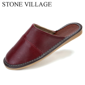 Plus Size 35-44 Genuine Leather Women Men Slippers Summer Home Slippers High Quality  Women Men Shoes Non-Slip Home Floor Shoes 1