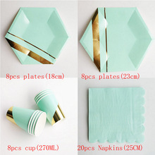44pcs Gold Striped Disposable Paper Plates Cups Napkins Kids Party Tableware Sets Kids Birthday Wedding Party Decor Baby Shower celebrate party gold foil disposable tableware set paper plates cups napkins straws adult birthday party decor wedding party sup