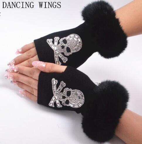 5 Paires/pack Femmes tricotés gants sans doigts de Bande Dessinée Crâne Tête Strass Gant En Fausse Fourrure Manchette Garniture Conduite Gant Luva