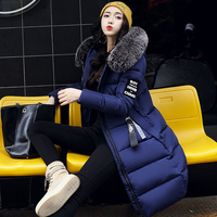 Fashion Large Fur Collar Winter Jacket Women Slim Long Coat Thickening Warm Clothing With A Hood