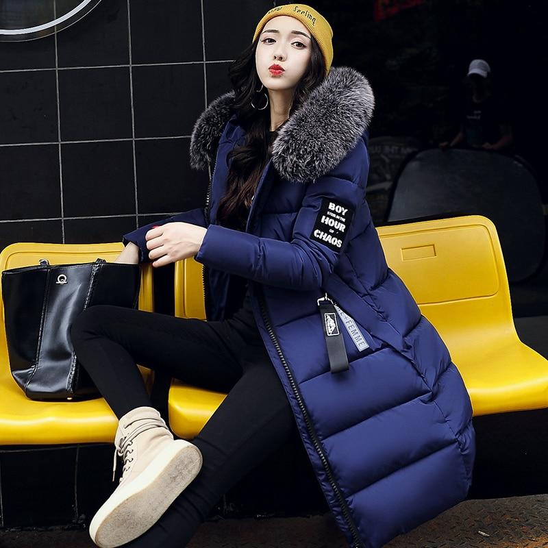 Fashion Large Fur Collar Winter Jacket Women Slim Long Coat Thickening Warm Clothing with A Hood Parka Ladies Plus Size Clothing brand fashion long winter jacket women slim solid hooded fur collar zippers ladies long jacket warm cotton coat plus size xxxl