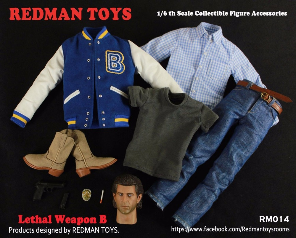 1/6  Male Head Sculpt+ Clothes +Toy Gun Accessories Set Lethal Weapon Mel Columcille Gerard Gibson RM014