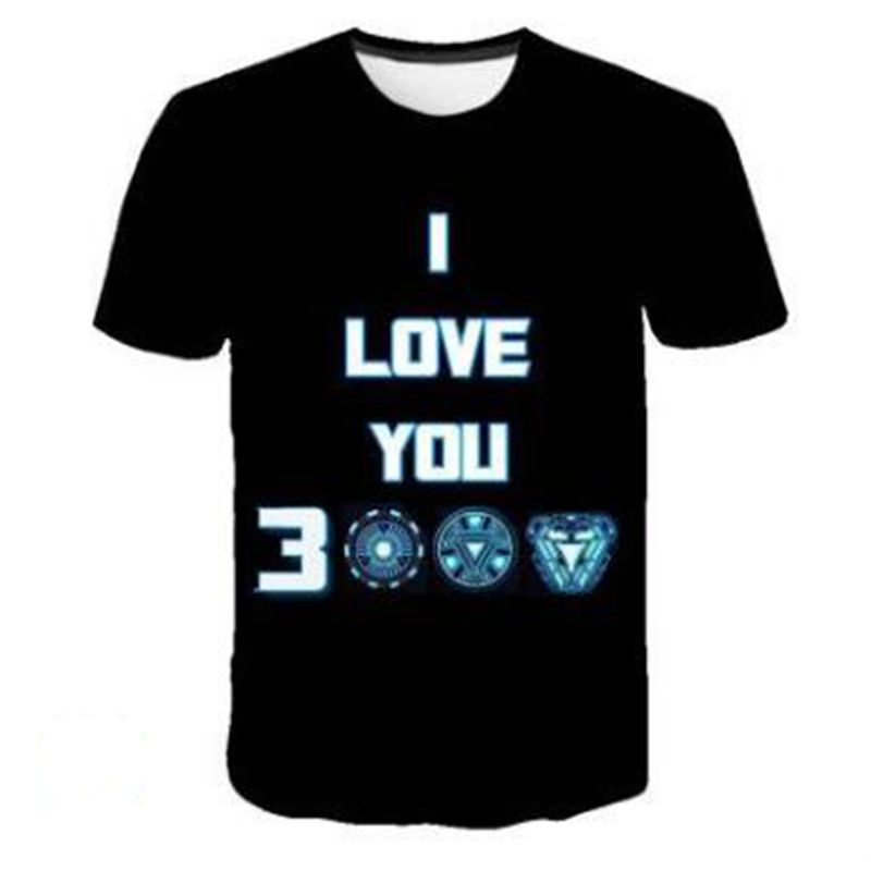 Qrxiaer The Marvel Film Avengers Iron Man   shirts   I Love YOU 3000 Print   shirt   Summer Autumn   T     shirt   Men Top Tees