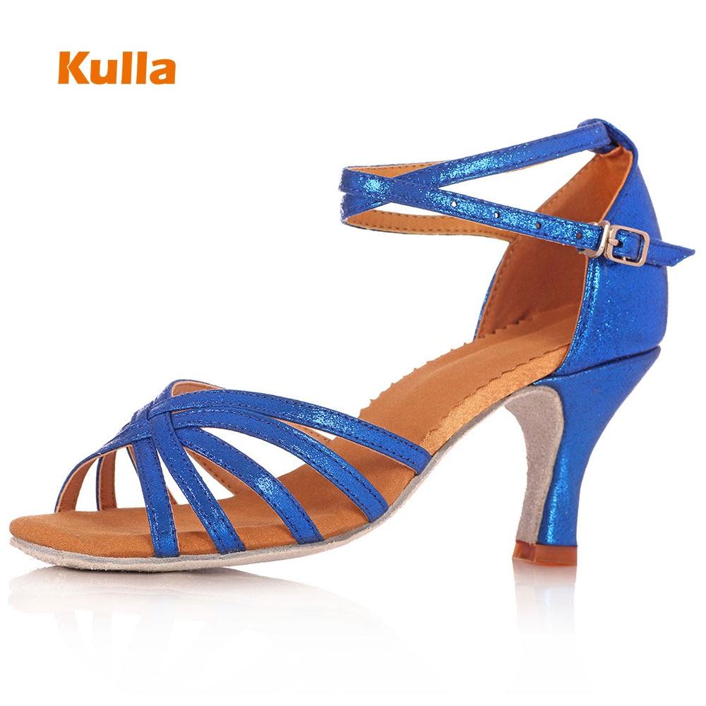 KULLA New Arrival Female Latin Dance Shoes Women Salsa Tango Ballroom Dancing Shoes Good Quality Party Shoes High Heeled 5cm/7cm