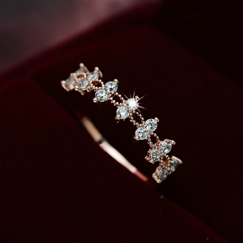 2018 Decalite CZ Lace Flower Ring Gold Color Women Fashion Ss