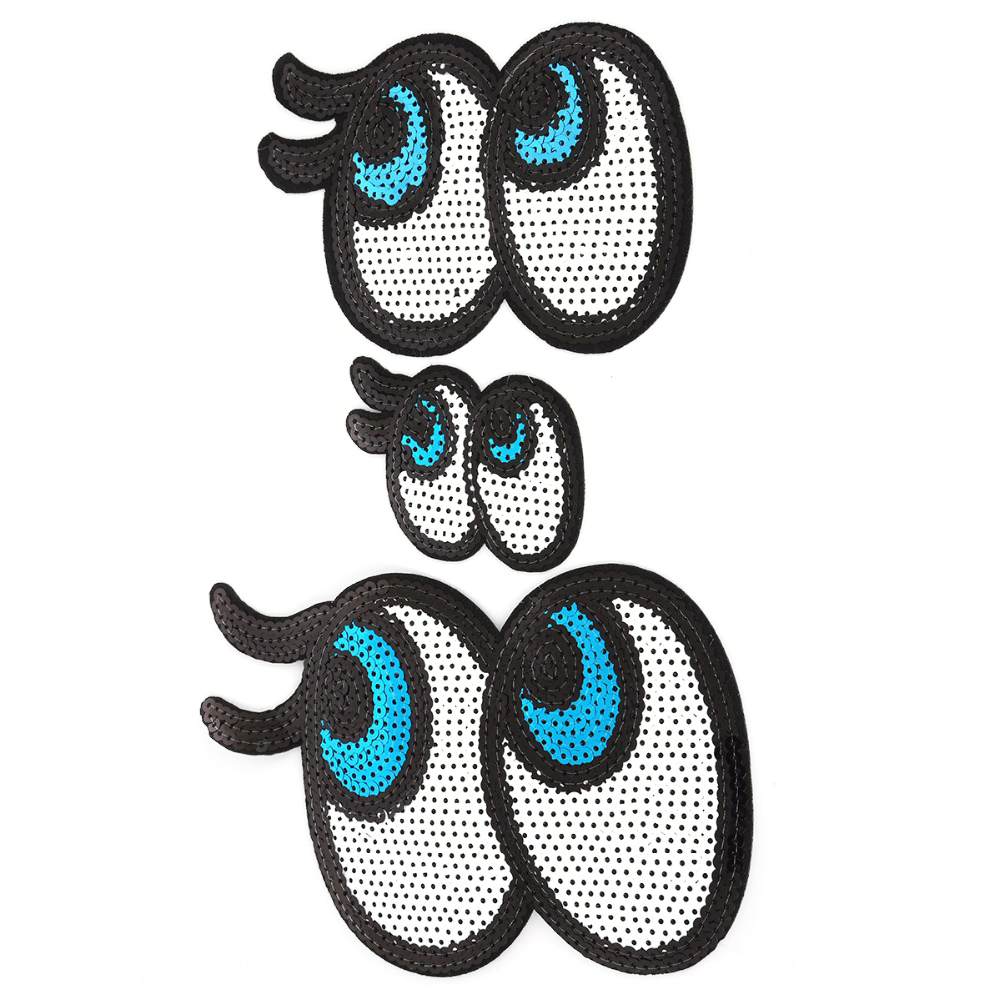Beadia 1pcs Eyes Patches Iron On Embroidered Patches Appliques Fabric Badges Sticker Motif for DIY Clothing Apparel Sew