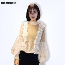 EDENCOMER 2019 Spring New Korean Velvet Blouse Gold Lantern Sleeve Top Lace Long Blouses for Women