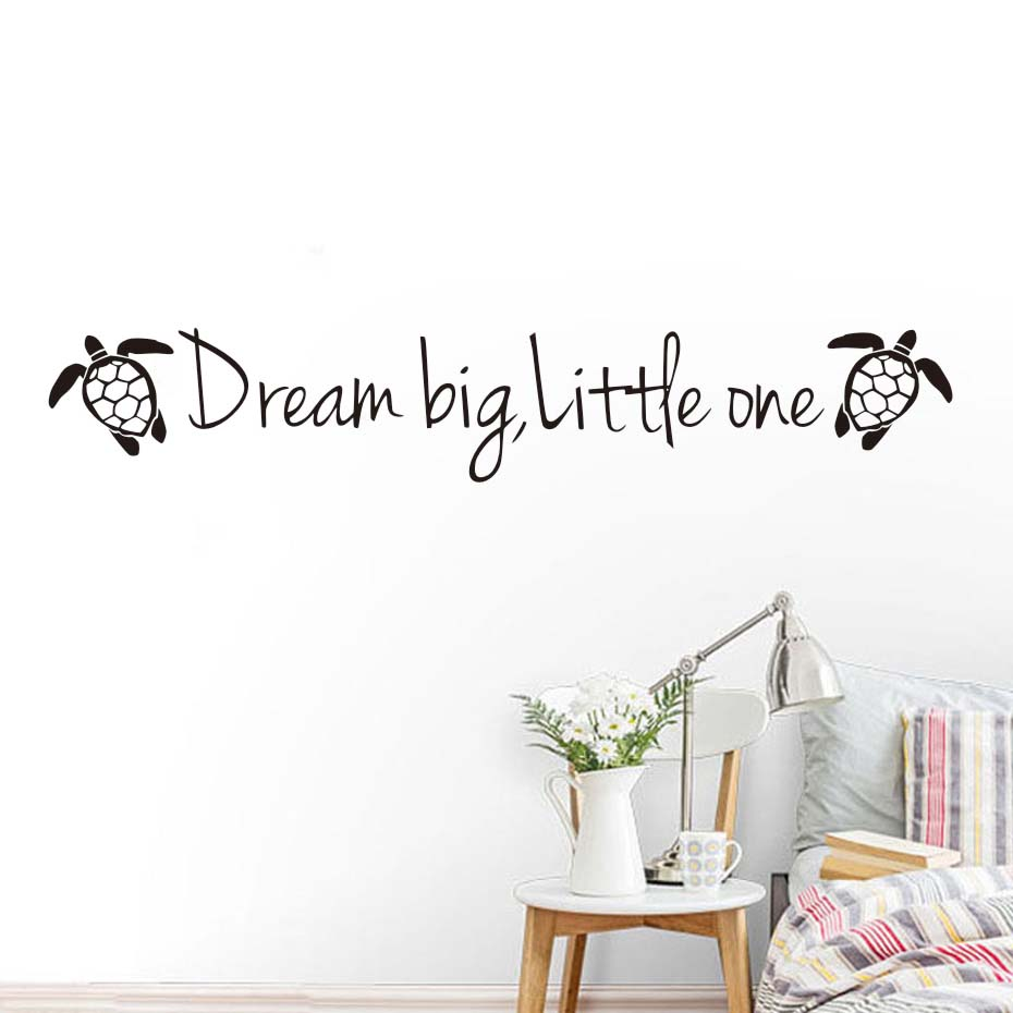 Cartoon Tortoises Wall Stickers Dream Big Little One Motivational Quotes For Kids Rooms Cute Animals DIY Art Decal Home Decor
