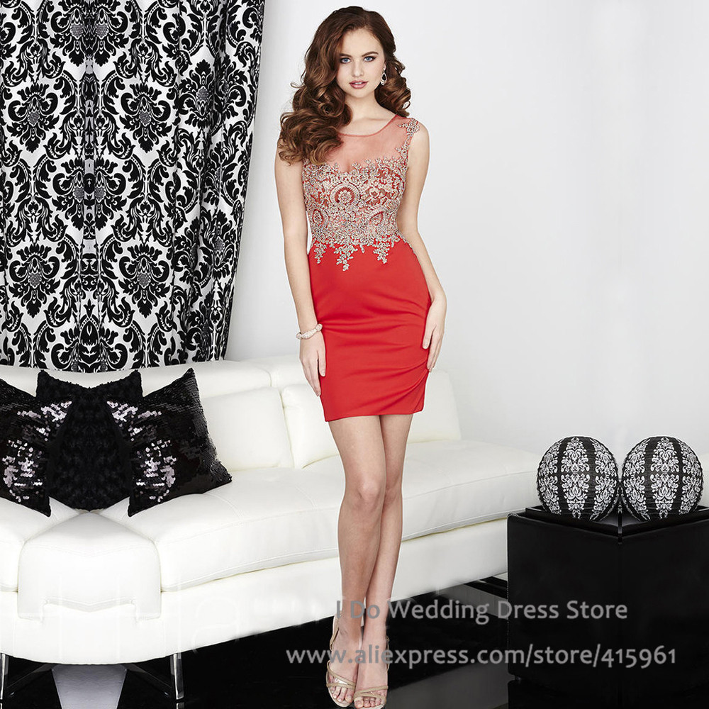 Popular Red Gold Cocktail Dresses-Buy Cheap Red Gold Cocktail ...