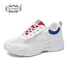 b7679f9dc5b6c Nova exposição 2018 mulheres da moda sapatos casuais Confortáveis sapatos  de Malha Respirável plataforma branco Formadores