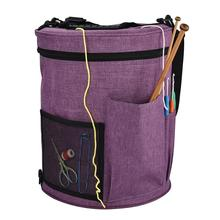 Large Yarn Storage Basket Crochet Bag Cylinder Woolen Bin Capacity Organizer With Zipper Closure