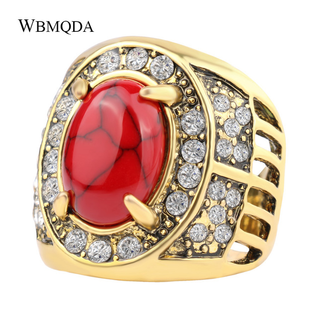 Luxury Big Gold Wedding Ring Men Indian Jewelry Vintage Red Green