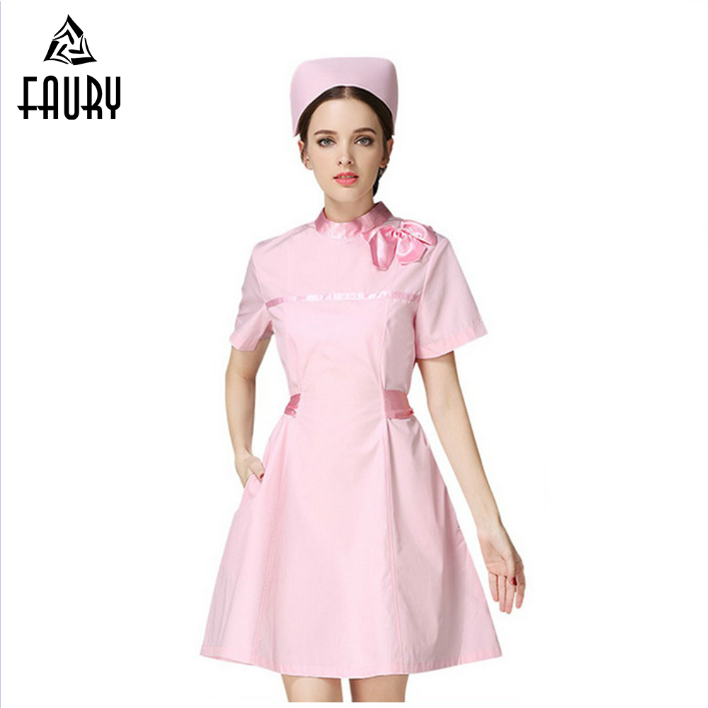 New Design 2018 Women O Neck Short Sleeve Nurse Work Wear Uniforms Doctors Scrubs Hospital Beauty Salon Medical Dress Gown Coat