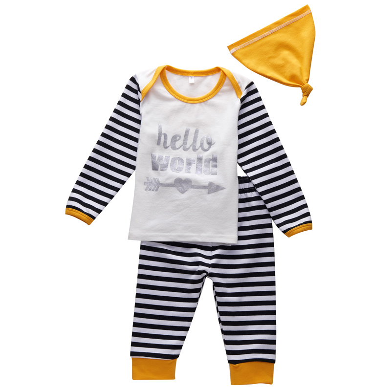 3Pcs Baby Boy Striped Romper Hello World Bebe Clothing Sets With Hat Infant Boy Clothing New Years Costume For Newborn baby girl infant 3pcs clothing sets tutu romper dress jumpersuit one or two yrs old bebe party birthday suit costumes vestidos