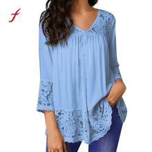 Feitong Plus Size Clothing V-Neck Solid Blouse Summer Women Loose Three  Quarter Shirts Tops f6297f62c6a4