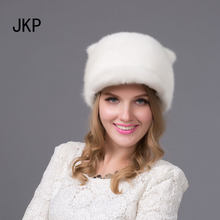 e96b68d545449 Russia New fashion style Winter fur hat for women real mink fur cap with  cute Orecchiette ladies small tail good quality